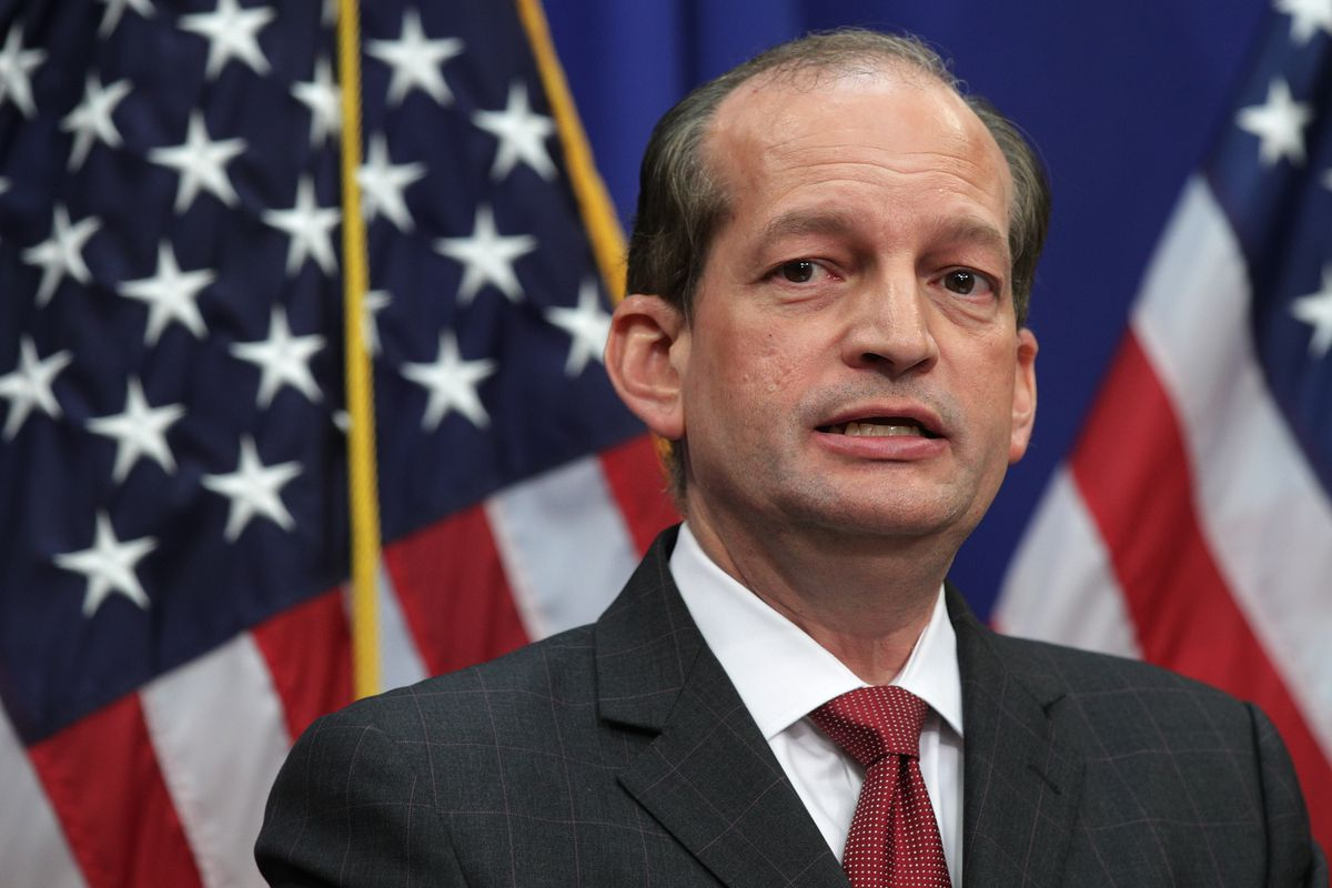 US Secretary of Labor Alexander Acosta speaks during a press conference July 10, 2019 at the Labor Department in Washington, DC