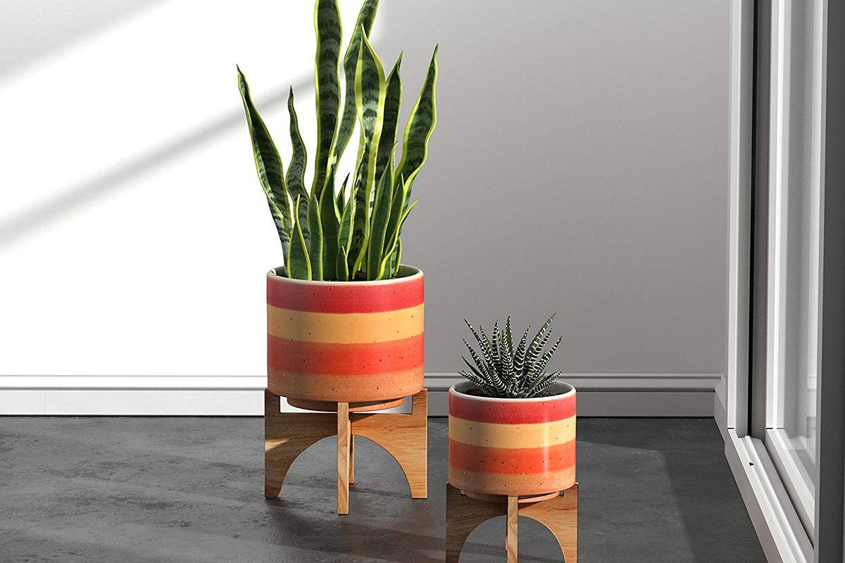 bright orange and red striped planter