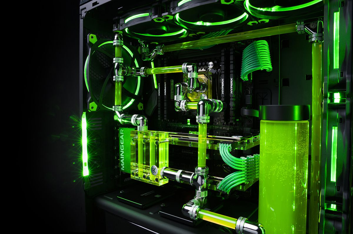 The glowing green liquid in this Razer–Maingear gaming PC ...