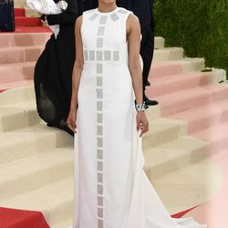 Frida Pinto wears a Tory Burch gown.