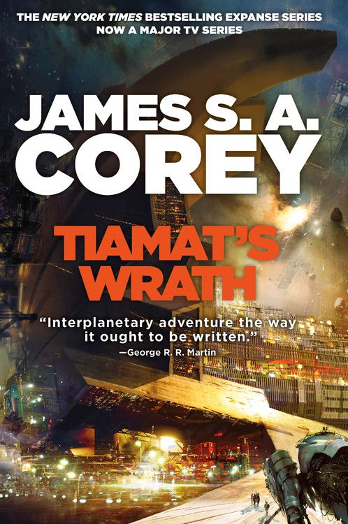 tiamat's wrath cover with letters in front of a starship construction site