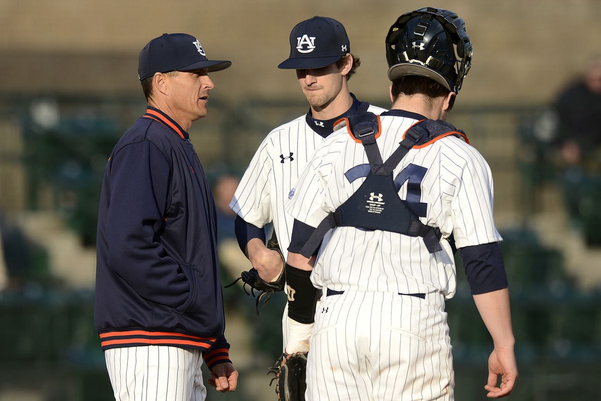 Auburn coach John Pawlowski out to the mound in sixth inning vs Eastern Illinois from Friday, March 1.