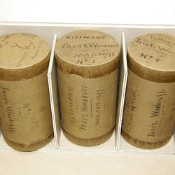 Three Edison phonograph recording cylinders used to record LDS Church President Wilford Woodruff's testimony on March 19, 1897. The cylinders are archived at the Church History Library in Salt Lake City, Utah. March 3, 2010.