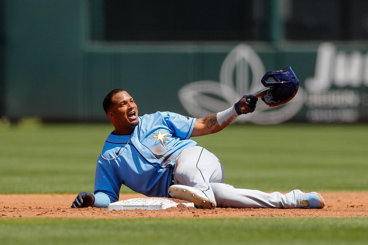 Tampa Bay Rays third baseman Wander Franco reacts after being caught stealing against the Atlanta Braves in the third inning during spring training at CoolToday Park.
