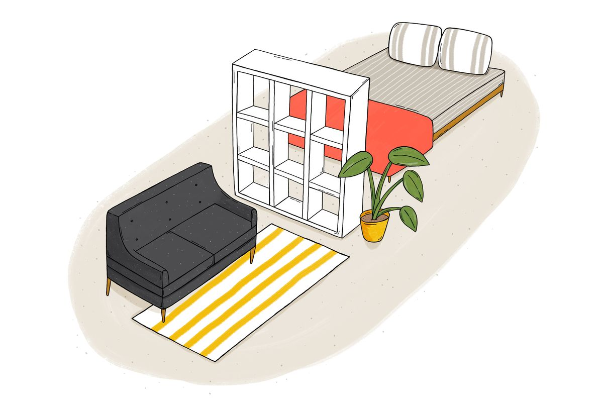 Illustration of small studio apartment with bed, bookshelf, and couch.