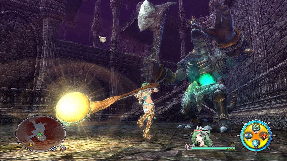 This screenshot from Ys 8: Lacrimosa of Dana shows playable character Dana in one of her alternate forms. She is wielding a massive hammer that is growing yellow on the blunt end. She is swinging at a large stone creature with a glowing blue ball in its a