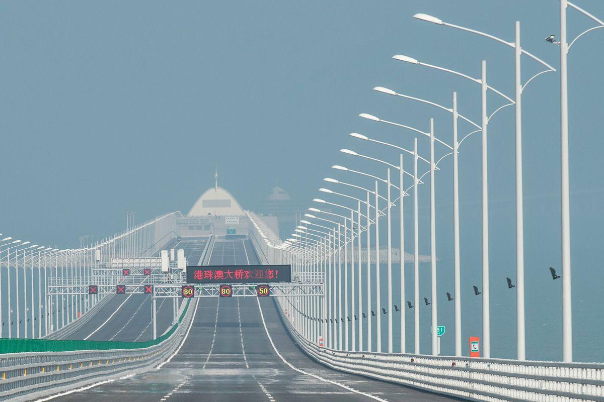 A view from the Hong Kong-Zhuhai-Macau Bridge in Zhuhai on March 28, 2018.