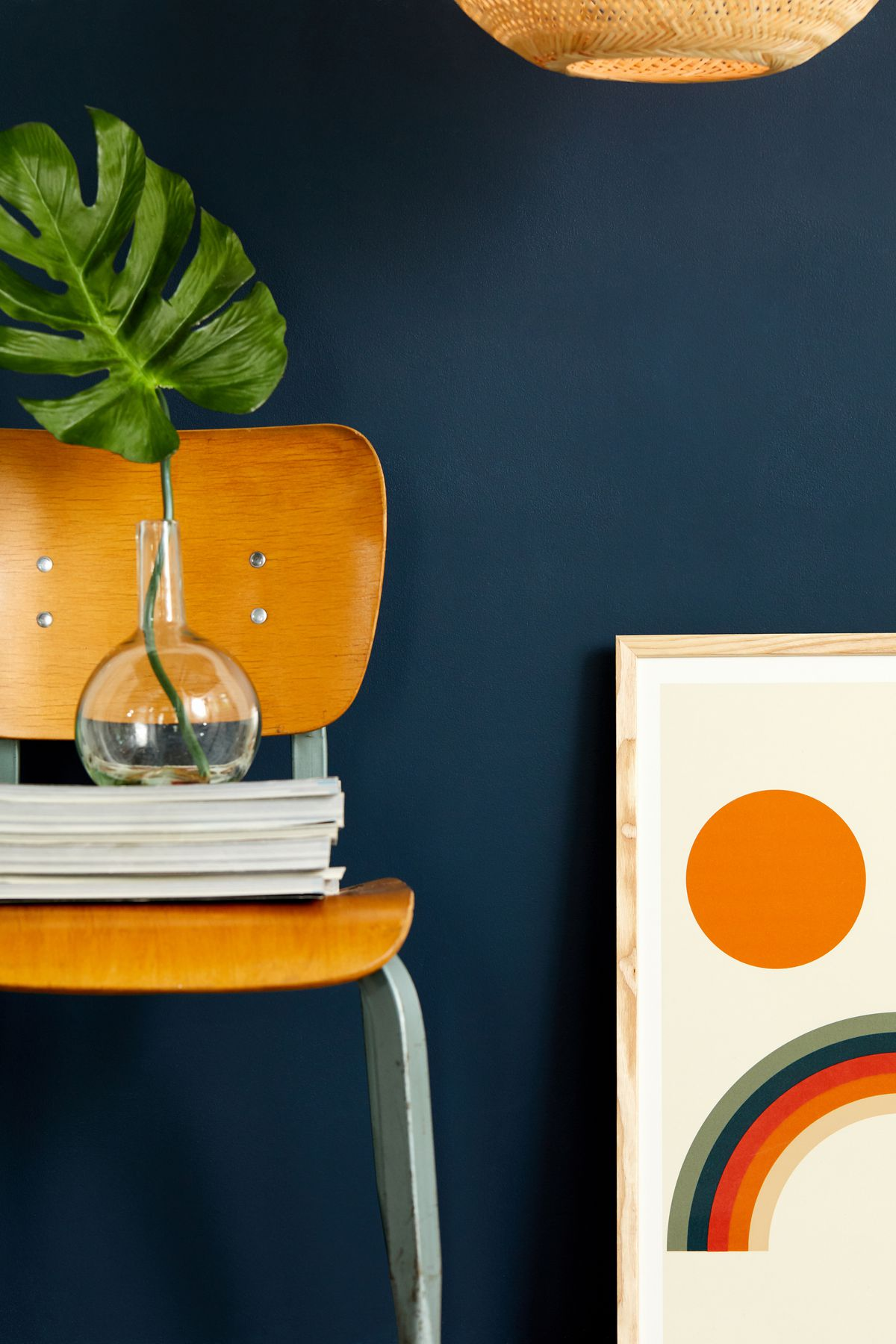 Chair next to deep blue wall