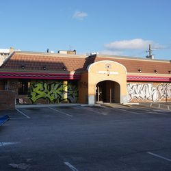 """Former Taco Bell building, now """"tagged"""""""