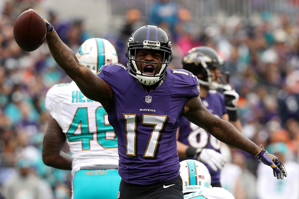 Wide receiver Mike Wallace of the Baltimore Ravens during a game in Miami last season