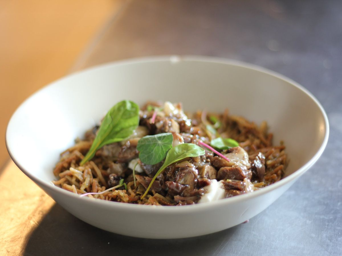 A bowl of noodles and beef, topped with herb garnish