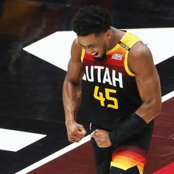 Utah Jazz guard Donovan Mitchell (45) celebrates a basket against the LA Clippers during the NBA playoffs in Salt Lake City on Thursday, June 10, 2021.