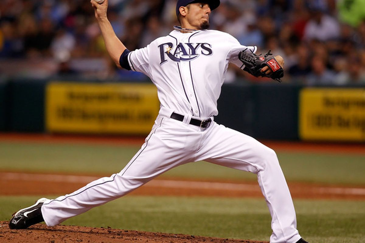 ST. PETERSBURG - JULY 05:  Pitcher Matt Garza #22 of the Tampa Bay Rays pitches against the Boston Red Sox during the game at Tropicana Field on July 5 2010 in St. Petersburg Florida.  (Photo by J. Meric/Getty Images)