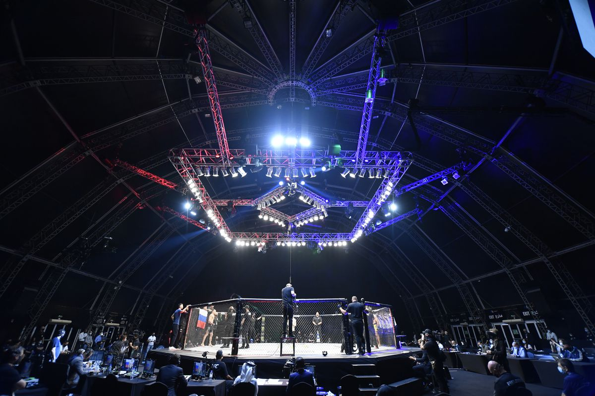 A general view of the Octagon during the UFC 251 event at Flash Forum on UFC Fight Island on July 12, 2020 on Yas Island, Abu Dhabi, United Arab Emirates.