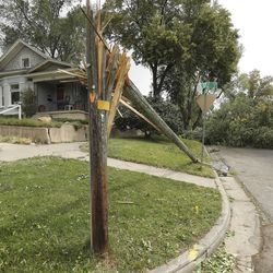 A power pole that was snapped by high winds in the Avenues in Salt Lake City is picturedon Tuesday, Sept. 8, 2020.