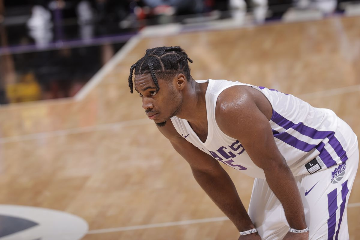 Davion Mitchell looks on against the Golden State Warriors during the 2021 California Classic Summer League on August 3, 2021 at Golden 1 Center in Sacramento, California.