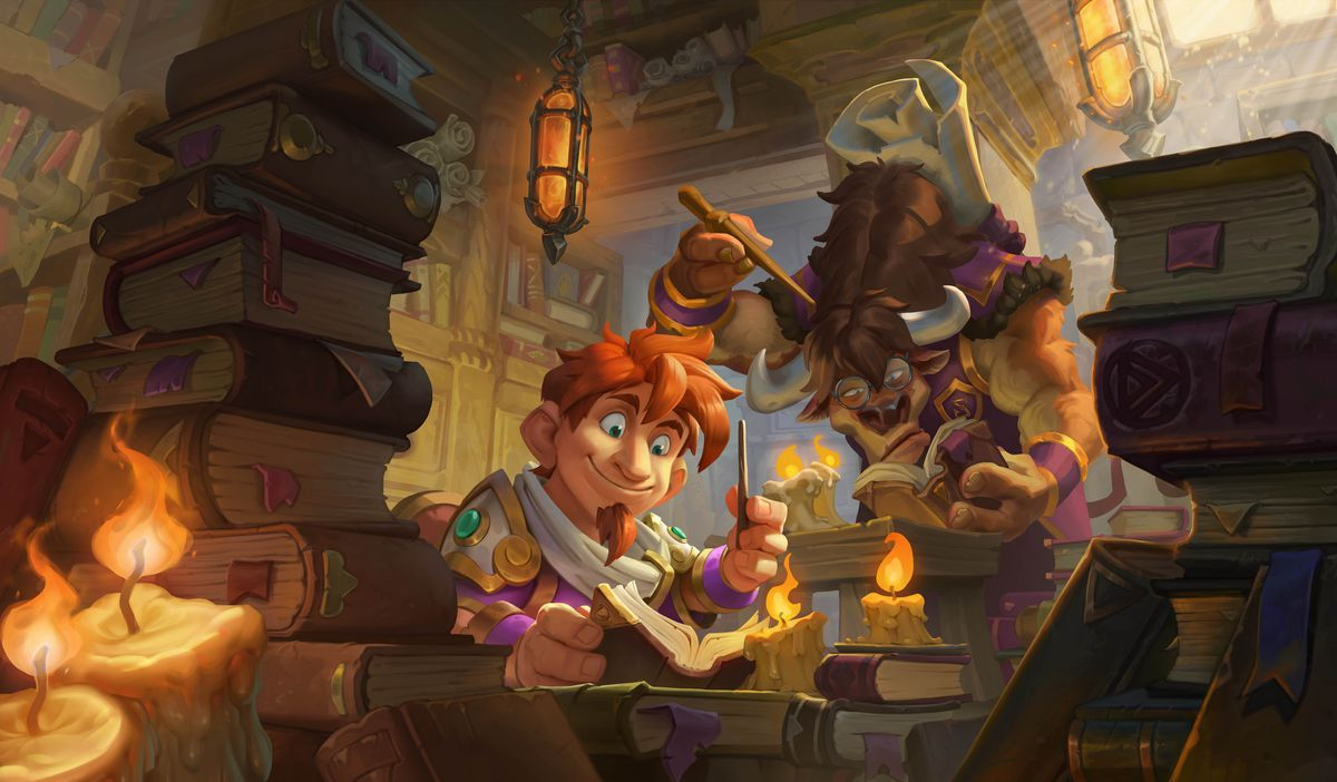 Hearthstone - two students study at Scholomance Academy