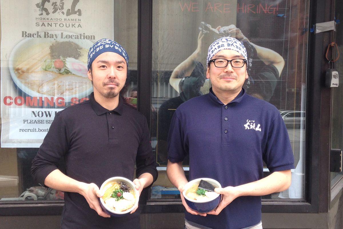 Takahiro Igo and Ryo Kobayashi, head ramen chefs at Santouka Back Bay