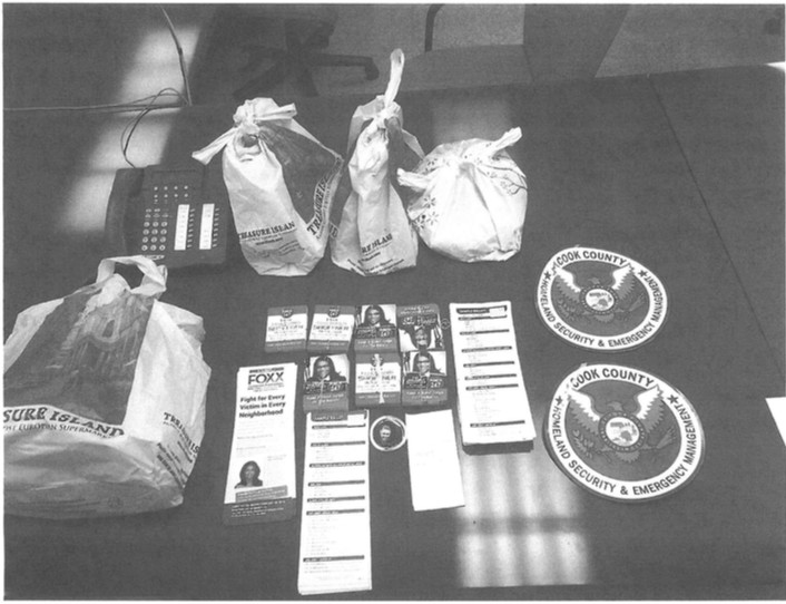 Some of the contents of a county-issued SUV that was found in a ditch in November 2016. That vehicle is part of Preckwinkle's security detail. | Provided photo