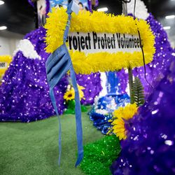 A float honoring pioneering Utah women by the Holladay Stake is pictured during the Days of '47 Float Preview Party at the Mountain America Expo Center in Sandy on Tuesday, July 20, 2021.