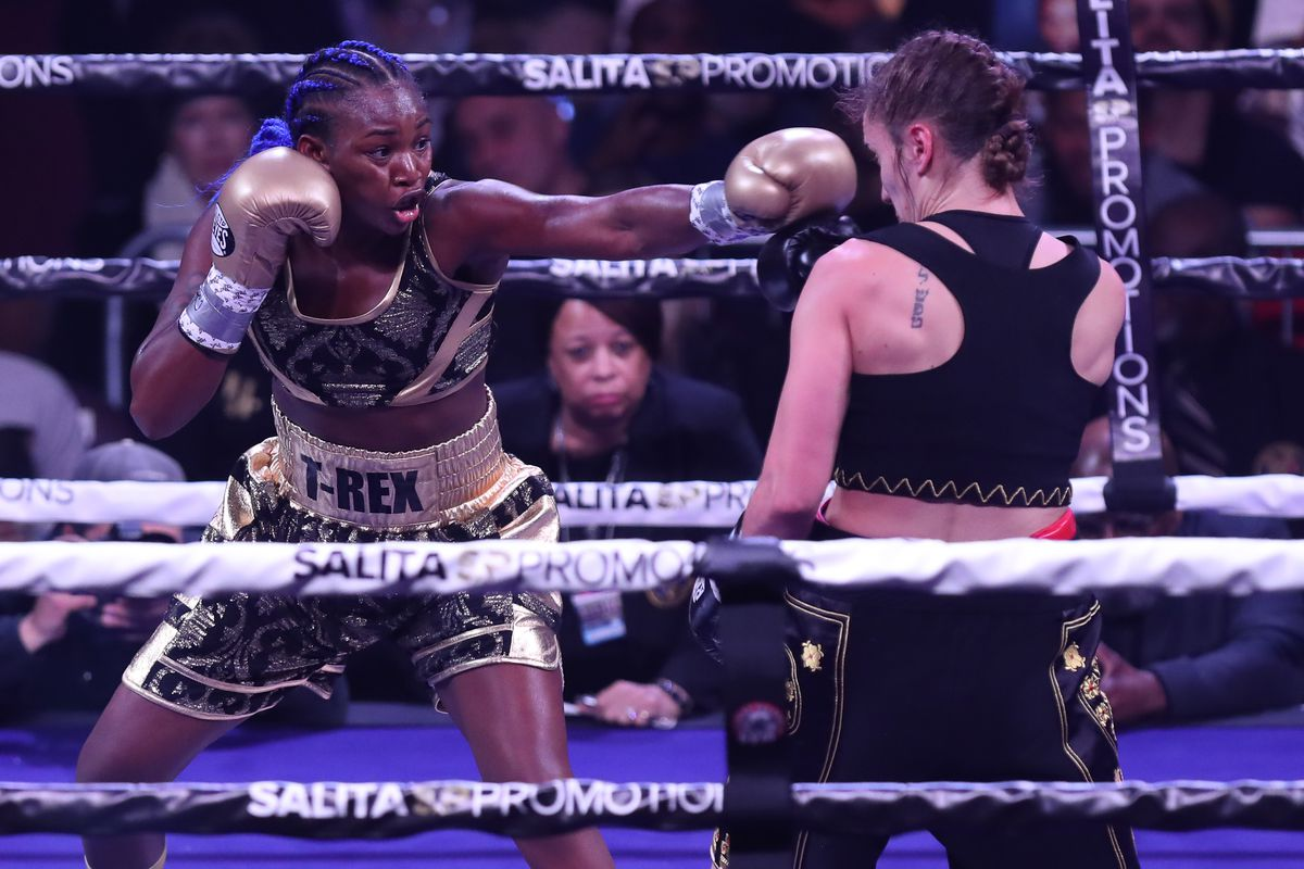 Claressa Shields throws a left hand against Ivana Habazin during their fight on January 10, 2020 at Ocean Casino Resort in Atlantic City, New Jersey.