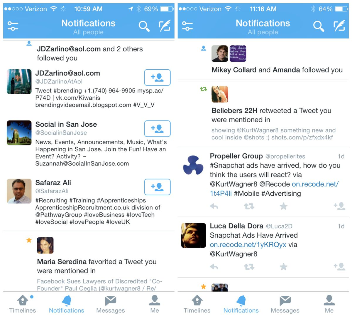 """A new """"notifications"""" timeline (L) that appeared Tuesday included follow buttons for users who follow you. The feature has since been removed."""
