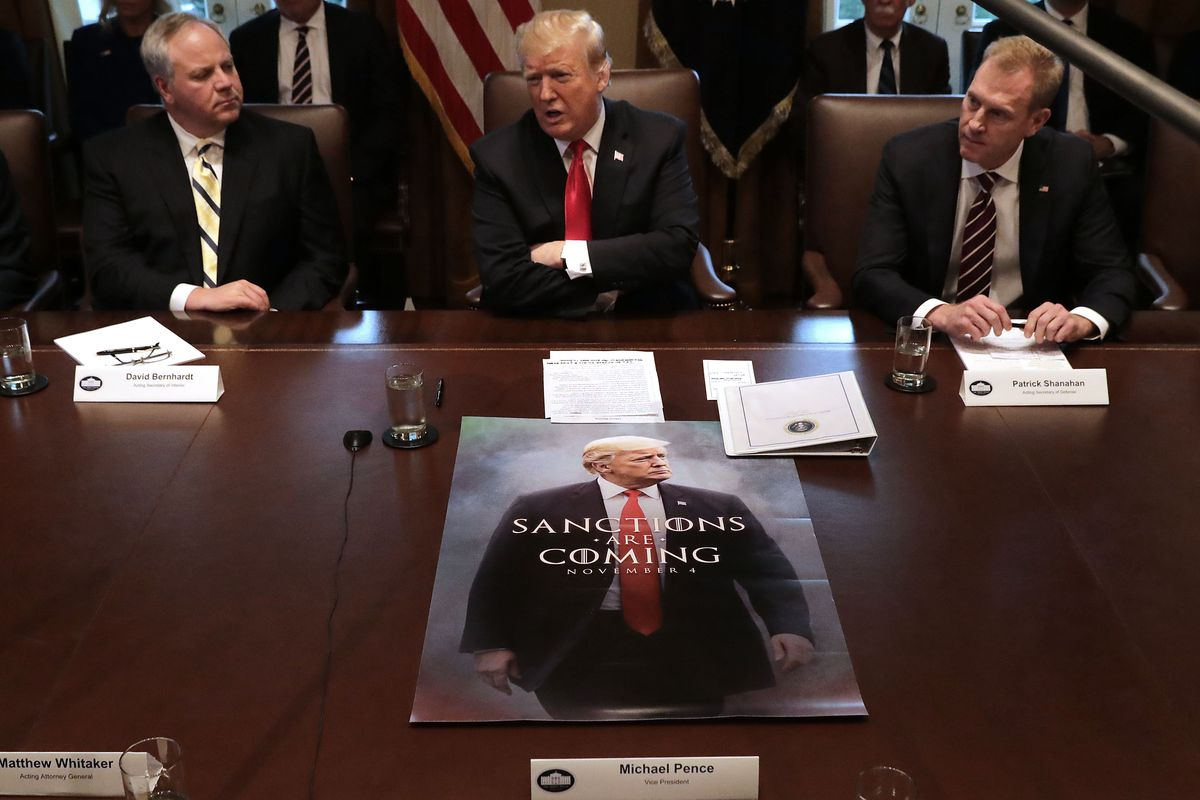 David Bernhardt, left, joins President Trump at a cabinet meeting on January 2, 2019.