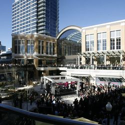 The City Creek Center opens with speakers and a ribbon cutting ceremony in Salt Lake City on Thursday, March 22, 2012.