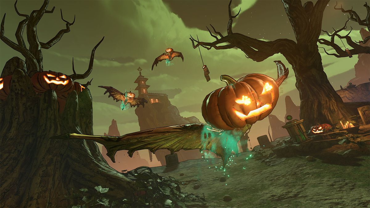 The Rakk-o-Lantern is basically one of those mangy Rakks from Borderlands 3 with a Jack O'Lantern stuck on its head. It also breathes fire.