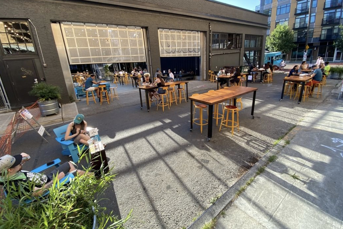 Optimism Brewing's new outdoor seating on Broadway Court