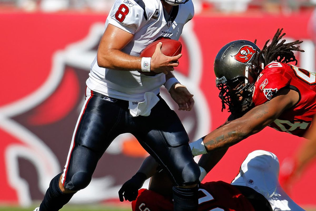 TAMPA, FL - NOVEMBER 13:  Quarterback Matt Schaub #8 of the Houston Texans scrambles against the Tampa Bay Buccaneers during the game at Raymond James Stadium on November 13, 2011 in Tampa, Florida.  (Photo by J. Meric/Getty Images)