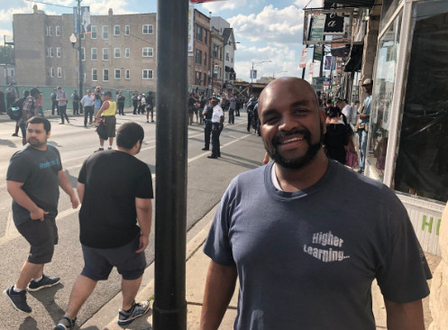 North Side resident Harold Gatewood said street closures happen all the time in his neighborhood, but it was nice to see if happen for such an importance cause that the anti-violence marchers taking up.   Mitchell Armentrout/For Sun-Times