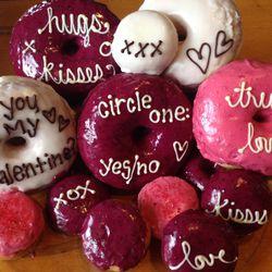"<a href=""https://www.blackbirddoughnuts.com/"">Blackbird Doughnuts</a> Valentine's Day doughnuts. (Not pictured, the ""naughty"" versions.) $3 each."