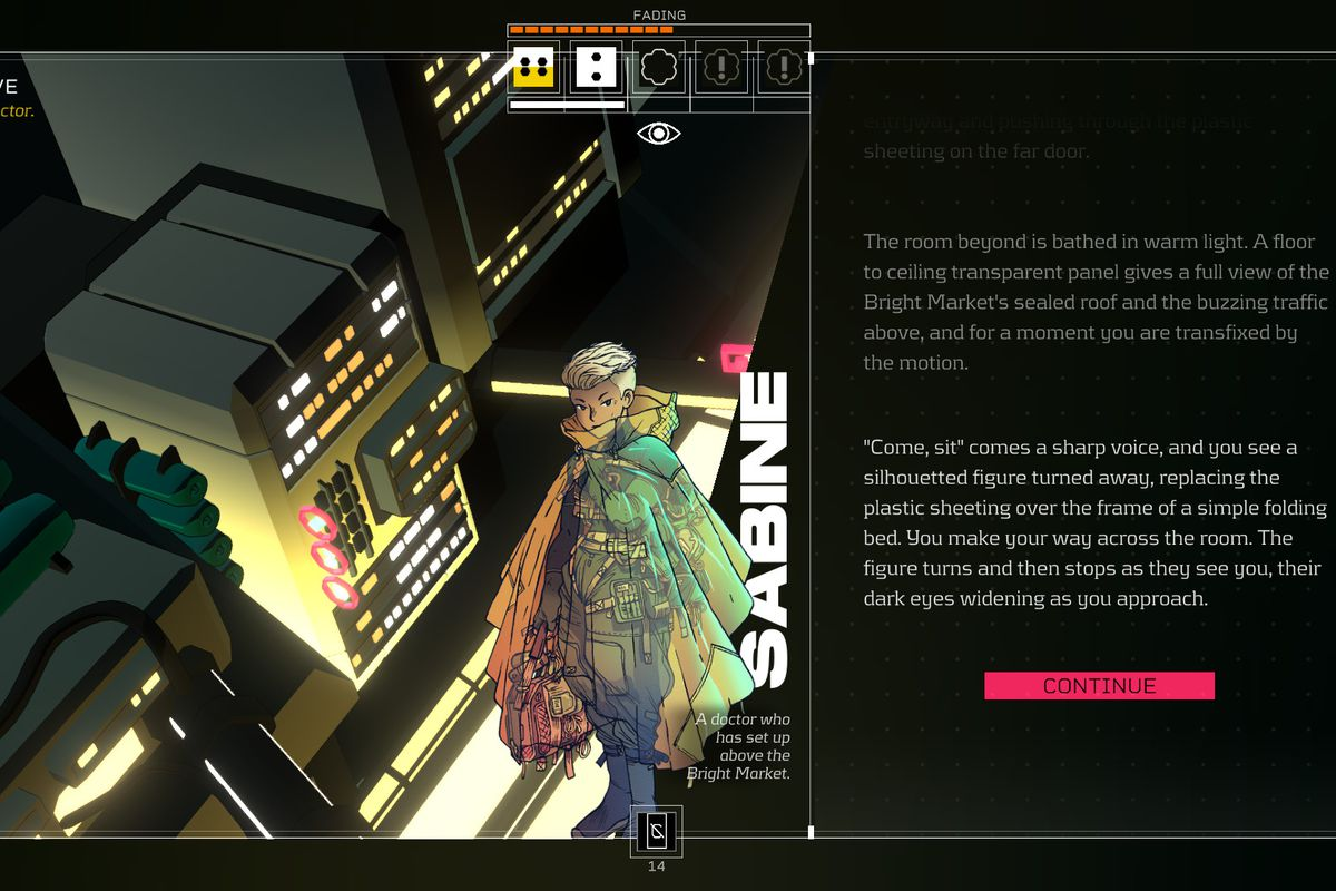 A conversation screen with Sabine from the game Citizen Sleeper