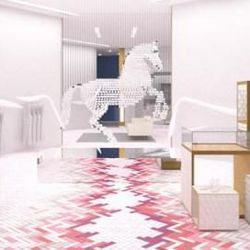 """Be sure to wander by the only <strong><a href=""""http://www.crystalsatcitycenter.com/stella-mccartney"""">Stella McCartney</a></strong> store in Vegas and visit """"Lucky Spot,"""" a horse chandelier made from 7,000 Swarovski crystals, suspended within the 14-foot-c"""
