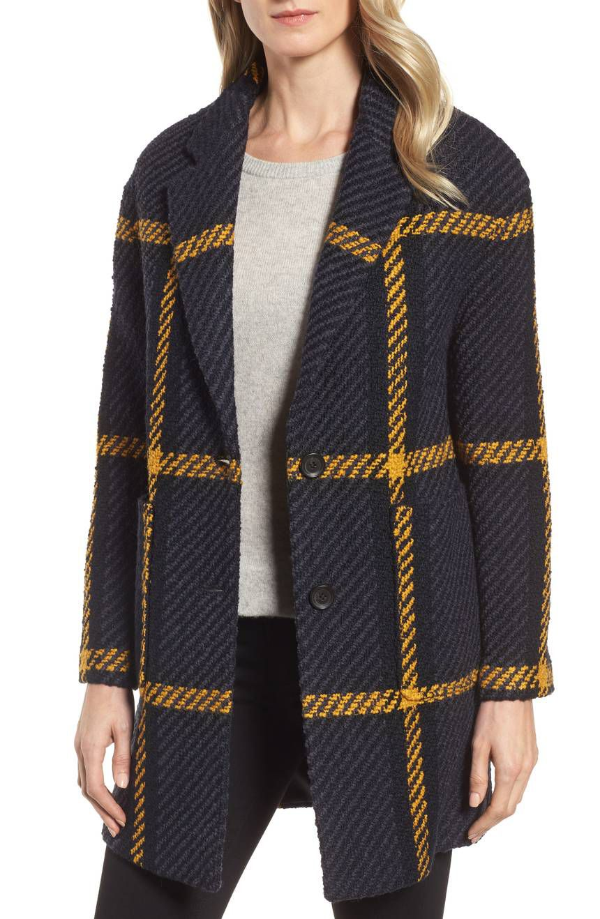 DKNY Textured Plaid Wool Blend Coat, $223.92 (was $460)