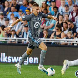 August 7, 2019 - Saint Paul, Minnesota, United States - Minnesota United midfielder Ján Greguš (8) dribbles the ball during the US Open Cup semifinal match against the Portland Timbers at Allianz Field.