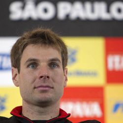 IndyCar driver Will Power, of Australia, attends a news conference in Sao Paulo, Brazil, Friday, April 27, 2012. Brazil will host the 4th race of the IndyCar season on April 29.