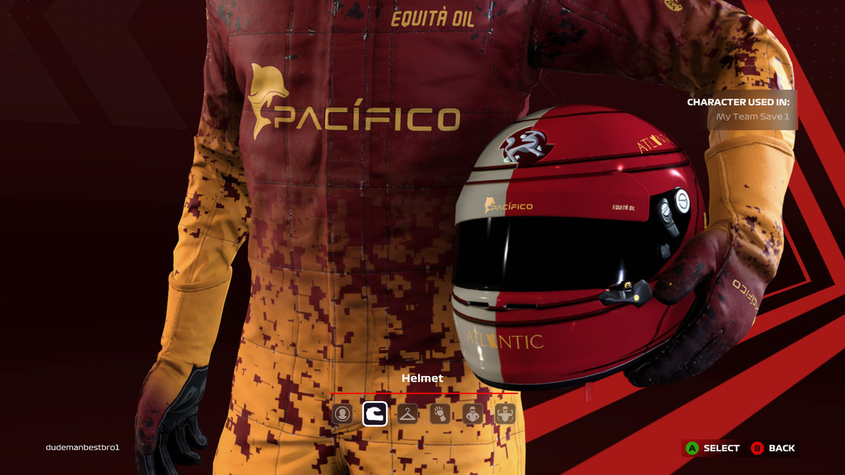 Closeup of a selection screen showing a racer's custom helmet, racing suit, and gloves, with fictitious sponsors and team badge affixed.