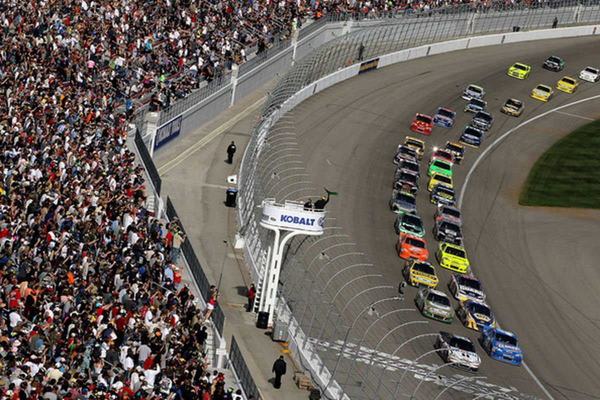 NASCAR's relatively new double-file restart rules will be adopted by the IZOD IndyCar Series from 2011, it was announced today. (Photo by Jeff Gross/Getty Images)