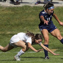 Action in the Murray-Skyline girls soccer game in Salt Lake City on Tuesday, Sept. 17, 2019. Skyline won 3-0.