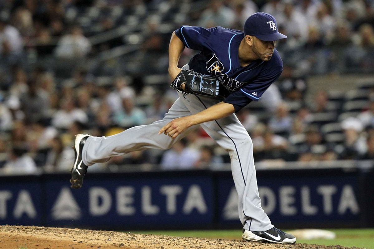 June 7, 2012; Bronx, NY, USA; Tampa Bay Rays pitcher David Price (14) throws a pitch during the fourth inning of a game against the New York Yankees at Yankee Stadium. Mandatory Credit: Brad Penner-US PRESSWIRE