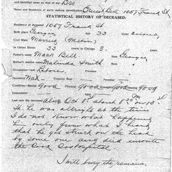 """The morgue documents about Bell's murder provide information on the manner of death, the perpetrator, witnesses and jurors. The county coroner's physician writes that he """"found a fracture of skull five inches long,"""" and that an examination of the skull """"found hemorrhage and injury to the brain."""" The coroner's physician concluded that Bell died from shock and skull fracture """"due to external violence."""" 