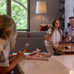 """Savanna Shaw and Mar Shaw record a cover of the song """"Shallow"""" at their family's home on Thursday, May 14, 2020. The father-daughter duets went viral on YouTube as they shared their passion for music amid the COVID-19 pandemic. """"The one thing more contagious than a virus is hope and so we're just doing our small part in the world to spread some hope,"""" Mat said."""