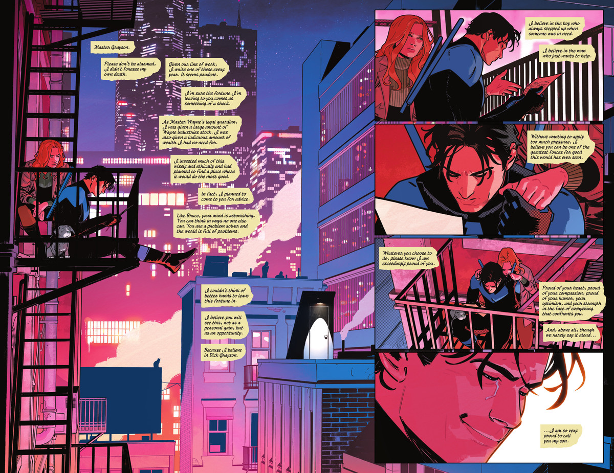 In a leisurely double page spread, Nightwing sits on a fire escape with a small puppy and Barbara Gordon, who holds his hand as he reads a letter Alfred wrote to him in case of his death, in Nightwing #78, DC Comics (2021).