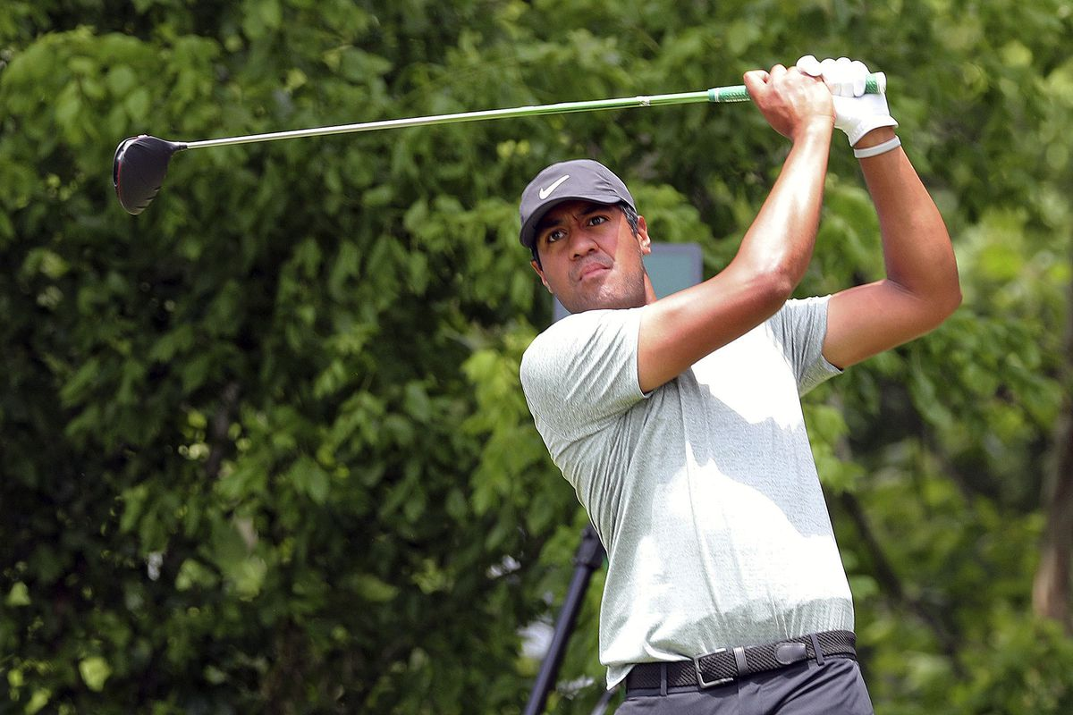 Tony Finau hits off the sixth tee in the final round of the Charles Schwab Challenge golf tournament Sunday, May 26, 2019 in Fort Worth, Texas.