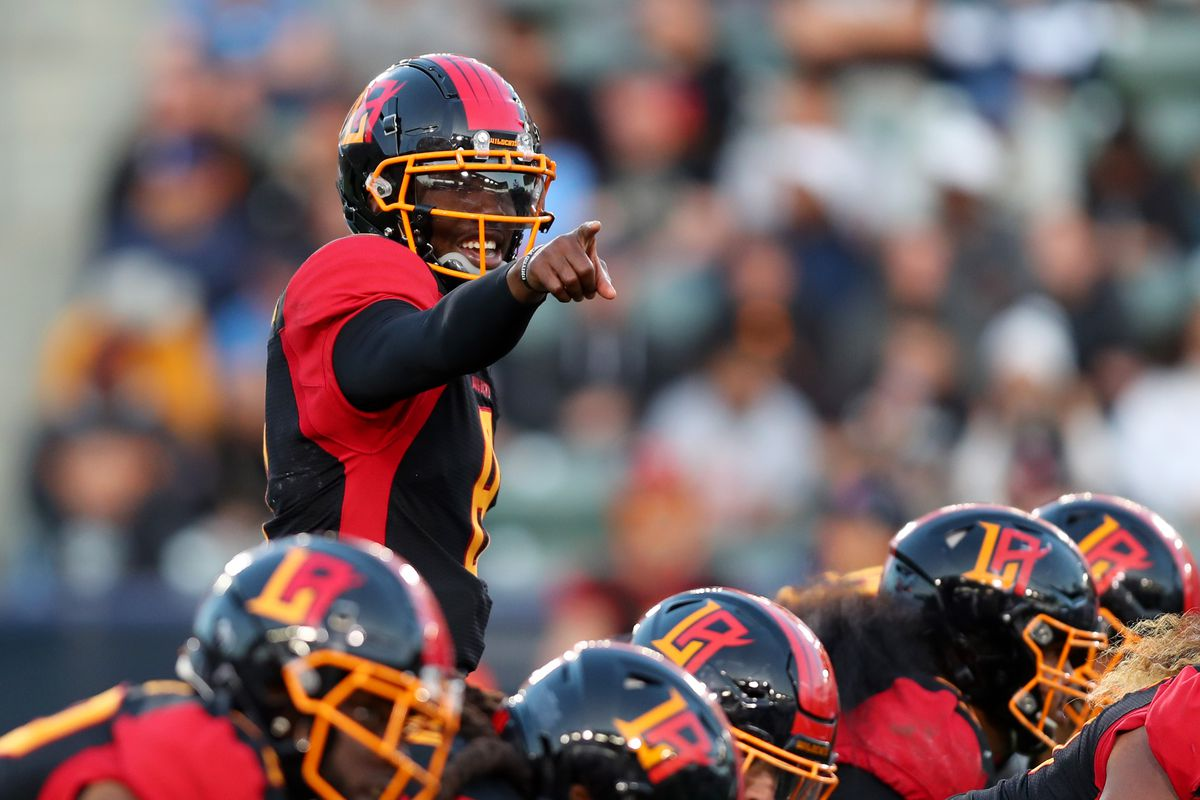 Quarterback Josh Johnson #8 of the LA Wildcats makes a call from the line of scrimmage in the fourth quarter against the DC Defenders at Dignity Health Sports Park on February 23, 2020 in Carson, California.