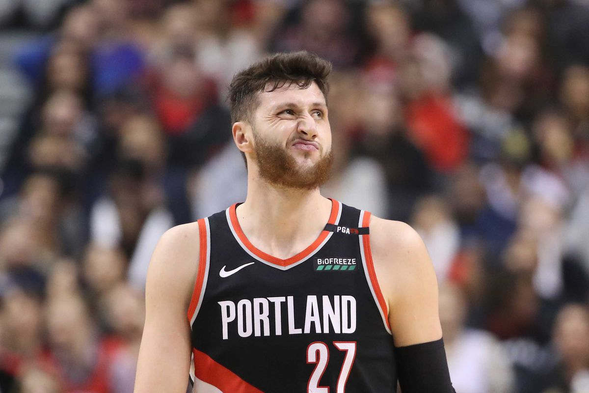 Portland Trail Blazers center Jusuf Nurkic reacts in the first quarter against the Toronto Raptors at Scotiabank Arena. The Raptors beat the Trail Blazers 119-117.