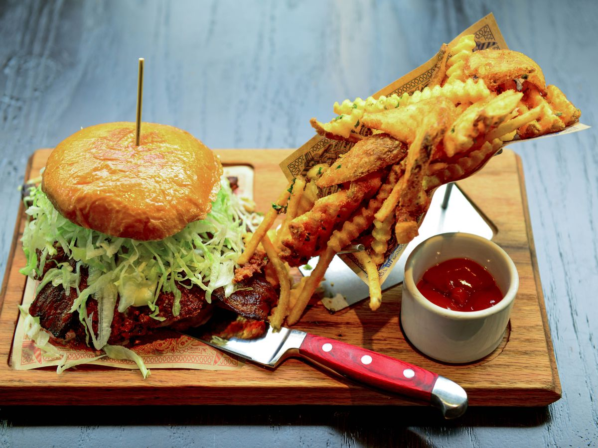 The Triple B Burger and fries