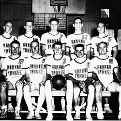 The Mormon Yankees' 1956 team was led by DeLyle Condie, jersey No. 3, on front row.